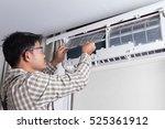 technician cleaning filter of... | Shutterstock . vector #525361912