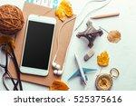 top view smartphone mock up...   Shutterstock . vector #525375616