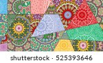 vector patchwork pattern.... | Shutterstock .eps vector #525393646