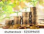 step of golden coins stacks on... | Shutterstock . vector #525399655