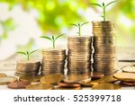 step of golden coins stacks on... | Shutterstock . vector #525399718
