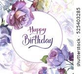 wildflower rose flower frame in ... | Shutterstock . vector #525403285