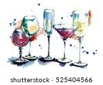 watercolor glasses for drinks | Shutterstock . vector #525404566