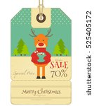 christmas sale tag in retro... | Shutterstock .eps vector #525405172