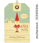 christmas sale tag in retro... | Shutterstock .eps vector #525405346