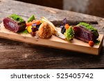 Small photo of Fine dining Venison meat steak with vegetable