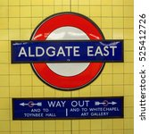 Small photo of London, UK - June 20, 2016: logo of the underground station Aldgate East in London. The London Underground is the oldest underground of the world.