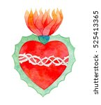 Sacred Heart. Hand Drawn Saint...