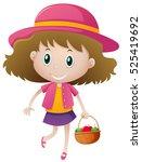 little girl holding basket of... | Shutterstock .eps vector #525419692