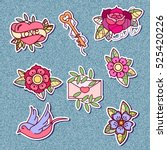 set of stickers with old school ... | Shutterstock .eps vector #525420226