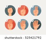 hand count. flat finger and... | Shutterstock .eps vector #525421792