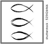 christian fish symbol. vector | Shutterstock .eps vector #525426466