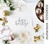 calligraphy words happy... | Shutterstock . vector #525428332
