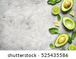 Avocado Halves With Lime Slice...