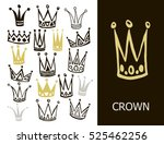 set of cute cartoon crowns.... | Shutterstock .eps vector #525462256