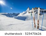 ski equipment with panoramic... | Shutterstock . vector #525470626