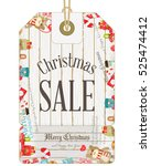 christmas sale tag in vintage... | Shutterstock .eps vector #525474412