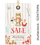 christmas sale tag in vintage... | Shutterstock .eps vector #525474496