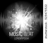 music beat vector. white lights ... | Shutterstock .eps vector #525475522