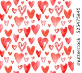 red hearts pattern. happy... | Shutterstock . vector #525475645