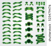 ribbons and bows. set of green... | Shutterstock .eps vector #525479476