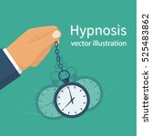 hypnosis concept. man holding a ... | Shutterstock .eps vector #525483862