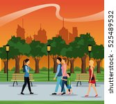 people walking urban city park... | Shutterstock .eps vector #525489532