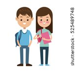 back to school pair students... | Shutterstock .eps vector #525489748