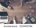 business meeting on the wooden... | Shutterstock . vector #525490786