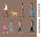 set people walking concept | Shutterstock .eps vector #525491578