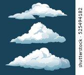 Cartoon Three Blue Sky Clouds