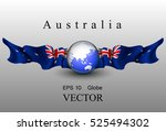 globe with flags of australia ... | Shutterstock .eps vector #525494302