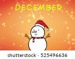 a snowman with a santa hat....   Shutterstock . vector #525496636