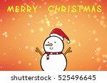 a snowman with a santa hat.... | Shutterstock . vector #525496645