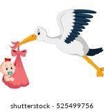 stork with baby cartoon   Shutterstock .eps vector #525499756