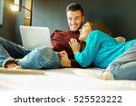 happy boyfriend and girlfriend...   Shutterstock . vector #525523222