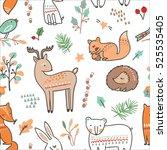 winter animal seamless pattern | Shutterstock .eps vector #525535405