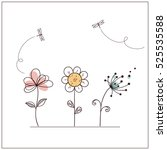 Stock vector hand drawn doodle flowers set with dragonflies 525535588