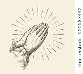 praying hands. sketch vector... | Shutterstock .eps vector #525537442