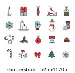 set of colorful christmas icons | Shutterstock .eps vector #525541705