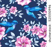 flower pattern with blue and... | Shutterstock . vector #525550996