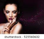 beautiful woman with dark... | Shutterstock . vector #525560632