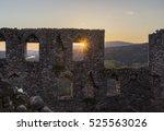 castle windows and sunset  ... | Shutterstock . vector #525563026