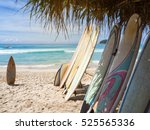 surfboards on bank under boris... | Shutterstock . vector #525565336