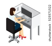 workplace. working on computer. ... | Shutterstock .eps vector #525571522