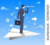 flying on paper plane business... | Shutterstock .eps vector #525581425