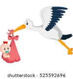 stork with baby cartoon | Shutterstock . vector #525592696