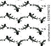 seamless pattern black fish on... | Shutterstock . vector #525598732