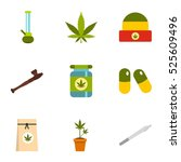 hashish icons set. flat... | Shutterstock . vector #525609496
