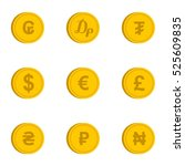 currency icons set. flat... | Shutterstock . vector #525609835